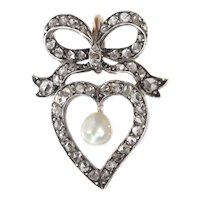 Antique Victorian Diamond Heart Pendant, 1870s