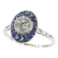 Vintage Art Deco Platinum Diamond Sapphire Engagement Ring, 1920s - FREE Resizing*