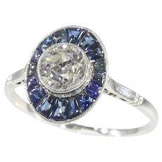 Vintage Art Deco Platinum Diamond Sapphire Engagement Ring, 1920s - FREE Resizing*