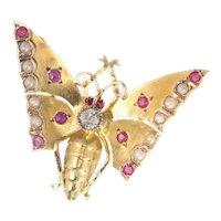 Antique 18 Karat Yellow Gold Victorian Butterfly Brooch, 1890s