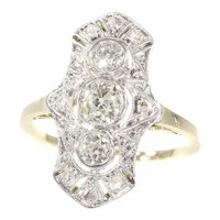 Original Vintage Belle Epoque Diamond Engagement Ring, 1900s - FREE Resizing*