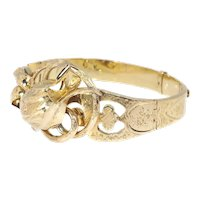 Antique Victorian 18 Karat Yellow Gold Bangle with Large Tulip Motive, 1850s