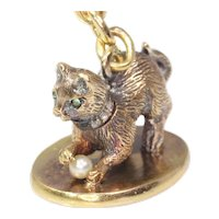 Antique Gold Pin Kitten with Diamond Collar Playing with Little Pearl on Seal, 1890s