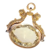 Antique Dutch Gold Chatelaine Pendant with Huge Citrine of Over 100 Carats, 1820s