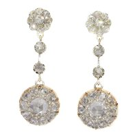 Vintage Long Pendant Diamond Earrings with 44 Rose Cut Diamonds, 1900s