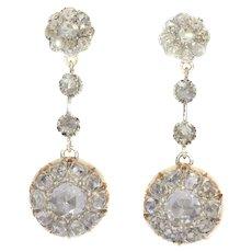 Vintage Long Pendant Diamond Earrings with 44 Rose Cut Diamonds, 1900s