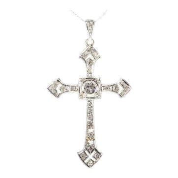 Art Deco 18 Karat Gold Diamond Cross Pendant, 1930s