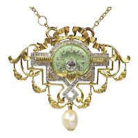 Vintage Belle Epoque Brooch and Pendant on Chain Enameled set with 109 Diamonds, 1900s