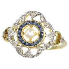 Art Deco - Belle Epoque Ring with Diamonds Sapphires and a Pearl, 1920s - FREE Resizing*