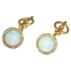 Late Victorian Cufflinks 18K Yellow Gold Diamond and High Domed Opals, 1900s