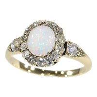 Victorian Diamond and Opal Engagement Ring, 1870s - FREE Resizing*