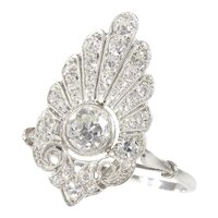 French Elegant Belle Epoque Diamond Engagement Ring Platinum, 1910s - FREE Resizing*