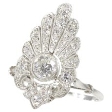 French Elegant Belle Epoque Diamond Engagement Ring Platinum, 1910s - FREE Resizing*