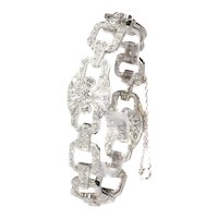 Authentic Art Deco Platinum Diamond Bracelet With a Total Diamond Weight of 9.60 Carat, 1930s