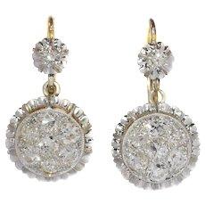 Art Deco Gold Diamond Short Hanging Earrings, 1930s