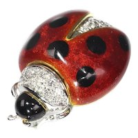 Vintage Enameled White Gold Ladybug Brooch with Diamonds, 1980s
