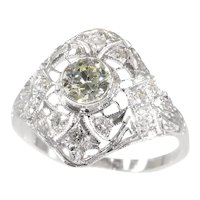 Estate Edwardian Art Deco Platinum Diamond Engagement Ring, 1930s - FREE Resizing*