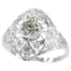 Estate Edwardian Art Deco Platinum Diamond Engagement Ring, 1930s - FREE Resizing*