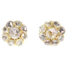 Antique Victorian 18K Yellow Gold Earstuds with 18 Rose Cut Diamonds, 1880s