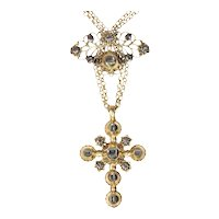 18th Century Gold and Diamond Cross on Necklace with Table Rose Cut Diamonds, 1730s