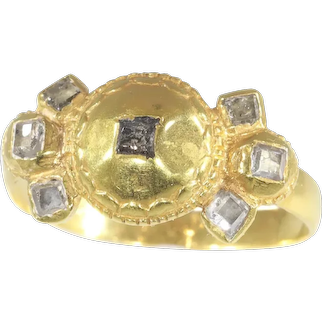 17th Century Antique Baroque Diamond 18 Karat Gold Engagement Ring, 1680s - FREE Resizing*