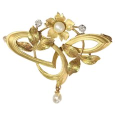 French Art Nouveau 18K Yellow Gold Pendant Brooch with Diamonds and Pearls, 1900s