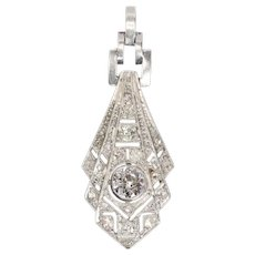 Stunning Art Deco Diamond Platinum Pendant, 1920s
