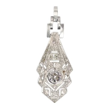 Stunning Art Deco Diamond Platinum Pendant, 1920s
