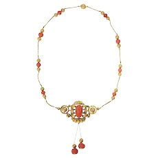 French Antique Gold and Coral Cameo Necklace, 1850s
