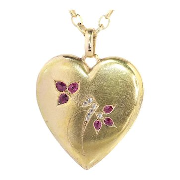 Victorian Yellow Gold Heart Shaped Locket set with Diamonds and Rubies, 1900s