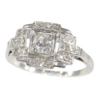 French Platinum Art Deco Diamond Engagement Ring, 1920s - FREE Resizing*