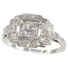 French Platinum Art Deco Diamond Engagement Ring, 1920s - FREE Resizing*