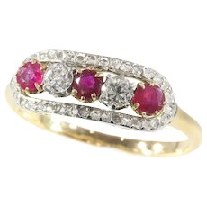 Victorian Diamond and Ruby Ring, 1880s - FREE Resizing*