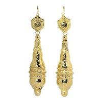 Antique Mid-Victorian 18 Karat Yellow Gold Long Pendant Earrings, 1840s