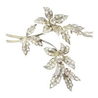 Victorian Antique Diamond set Trembleuse Branch Brooch, 1850s
