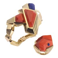 Vintage Seventies Pop-Art Matching Set Gold Bracelet and Ring with Coral and Lapis Lazuli, 1970s - FREE Resizing*