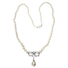 Vintage Swedish Diamond and Natural Pearl Necklace, 1956s