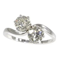 Vintage Romantic Diamond Engagement Ring a So-Called Toi et Moi, 1900s - FREE Resizing*