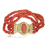 Antique Four String Coral Bracelet with Coral Cameo in 18K Gold Closure, 1850s