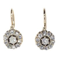 Antique Victorian Vintage Gold Diamond Earrings Mid 19th Century, 1860s