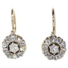 Antique Victorian Vintage Gold Diamond Earrings Mid 19th Century, 1860s