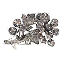 Romantic Victorian Antique Diamond Flower Branch Brooch, 1840s