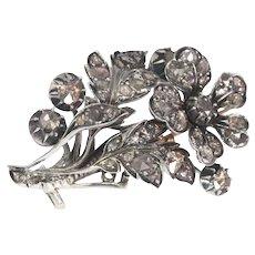 Romantic Victorian Antique Diamond Flower Branch Brooch, 1840s
