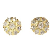 Antique Victorian 18 Karat Yellow Gold Diamond Earstuds, 1880s
