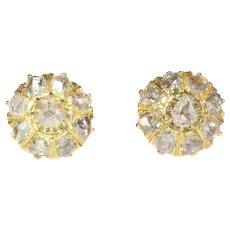 Antique Victorian 18 Karat Yellow Gold Diamond Earstuds, 1880s