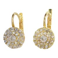 Victorian Old Mine Cut Diamond Earrings with Double Row Rose Cut Diamonds, 1880s