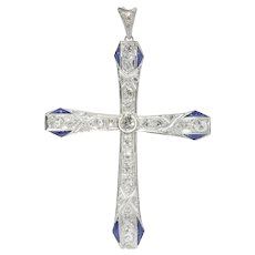 Art Deco Platinum Diamond and Sapphire Cross, 1930s