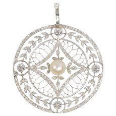 Vintage Edwardian 125 Diamonds and Pearl Pendant, 1920s