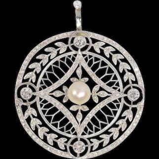 Vintage Edwardian 125 Diamonds and Pearl Pendant, 1920s