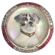 Gold Diamond Hunting Brooch English Crystal with Picture of Jack Russel Terrier, 1920s
